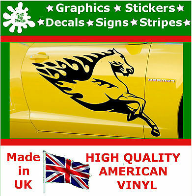 2 x Large Side Graphic Car Stickers Wild Horse Flame Wrap Decal Vinyl Wall Van 2