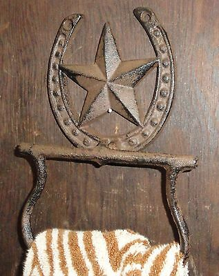 Rustic and Western Texas style Cast Iron Star and Horseshoe bathroom towel ring