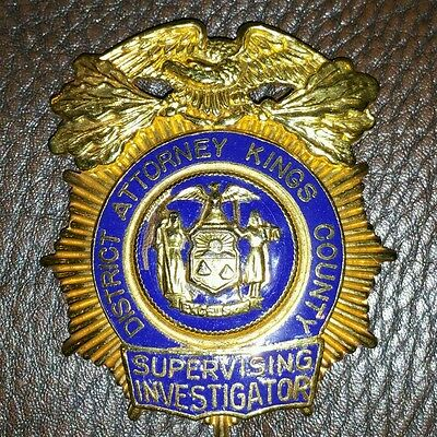 VINTAGE DISTRICT ATTORNEY KINGS COUNTY SUPERVISING INVESTIGATOR BADGE