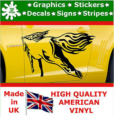 2 x Large Side Graphic Back Horse Flame Car Sticker Wrap Decal Vinyl Wall Van 9