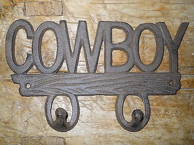 Cast Iron COWBOY Towel Hanger Coat Hooks Hat Hook, Key Rack Western Tack hook