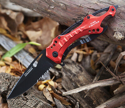 """8"""" FIRE FIGHTER SPRING ASSISTED TACTICAL FOLDING KNIFE Blade Pocket Assist Open"""