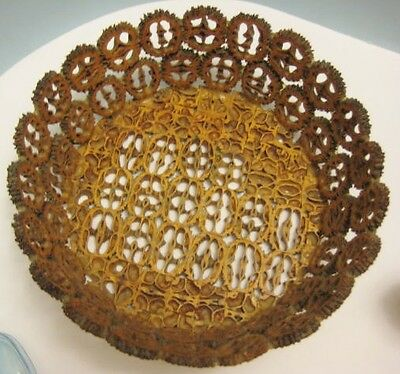 Old Arts & Crafts Unusual Basket Art - made of Nut Shells / Peach Pits