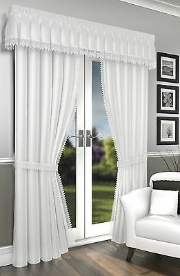 "Lima ""White"" Voile Fully Lined 3"" Tape Top Curtains With Embellished Detail"
