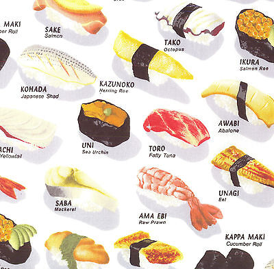 Sushi Japanese Food Quilting Fabric Craft FQ Fat Quarter or By The  Metre NEW