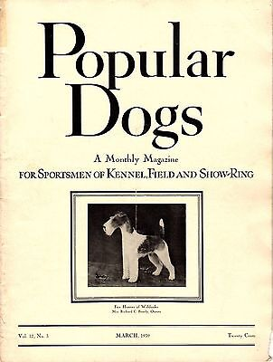 Vintage Popular Dogs Magazine March 1939 Wire Fox Terrier Cover