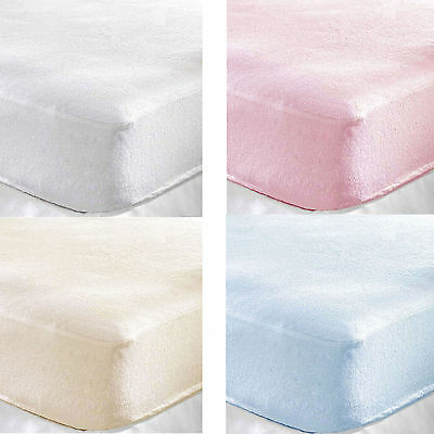 Terry Towelling Fitted Sheet Fits Pram/ Crib / Cot / Cotbed /Junior Bed Mattress