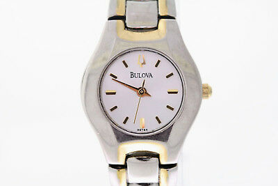 Ladies Bulova 98T84 Classic Collection Two-Tone Stainless Steel White Dial Watch