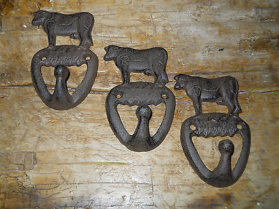3 Cast Iron COW Towel Hanger Coat  Hat Hooks, Key Rack RANCH Hook FARM