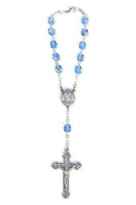 Auto Rosary Miraculous Medal Silver 1 Decade Blue Crystal Beads Clasp Catholic