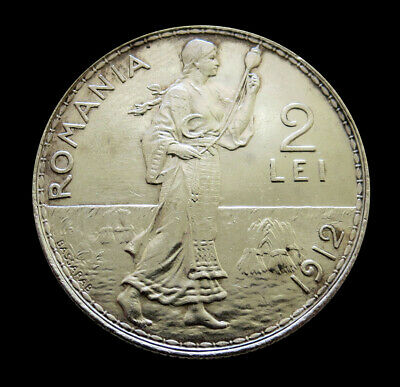 1912 Silver Romania 2 Lei Carol I Coin Au / Unc. Condition