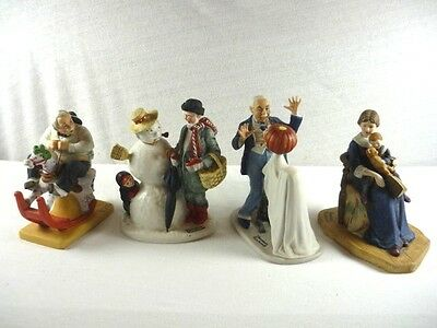Norman Rockwell Lot Of 4 Figurines W Trick Or Treat & More From Estate Sale !NM!