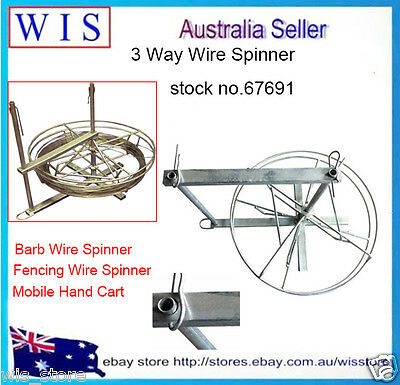 Three-Way Wire Spinner for Plain & Barbed Wire,Mobile Hand-Cart,All in One Tool