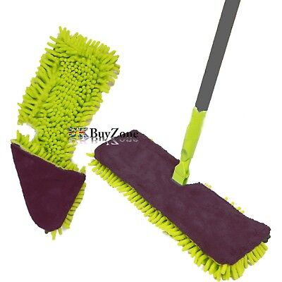 Double Sided Microfibre Mop Cleaner Sweeper Wooden Laminate Tile Floor Wet Dry