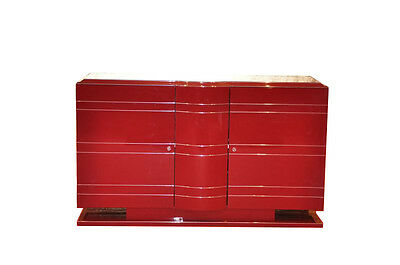 Exclusive Art Deco Chest of drawers/Chrome liner in red