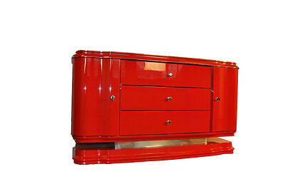 Red Art Deco Lowboard