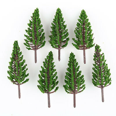 50pcs Model Pine Trees Deep Green For TT HO Scale Layout 78mm New