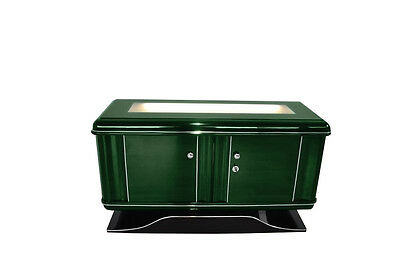 Art Deco Chest of drawers Jaguar Racing Green illuminated