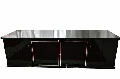 Black Art Deco Lowboard – Piano lacquer with Glass flooring