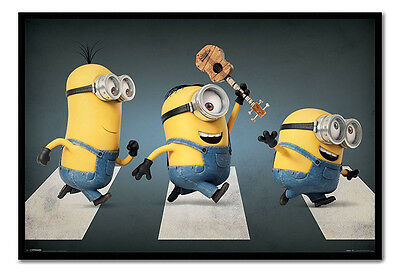 Framed Minions In Abbey Road Poster New