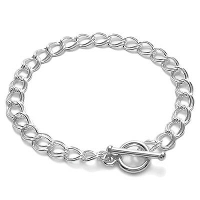 "925 Sterling Silver 7"" or 8"" Charm Bracelet with Lovely Toggle Lock 6mm"