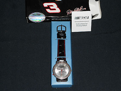 NASCAR DALE EARNHARDT #3 WATCH W/ CRYSTAL FACE ,NEW IN BOX WITH PAPERS ,L@@@K!!!