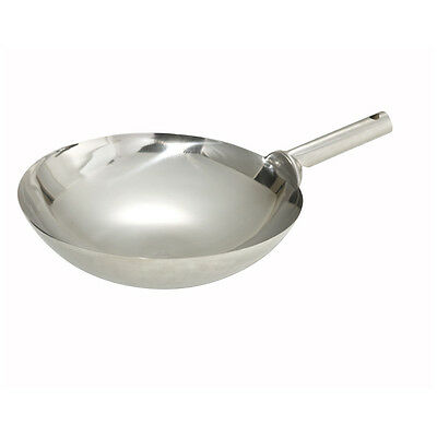 Winco WOK-14W, 14-Inch Mirror Finish Stainless Steel Chinese Wok with Welded Joi