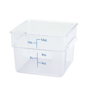 Winco PCSC-12C, 12-Quart Clear Square Polycarbonate Food Storage Container, NSF