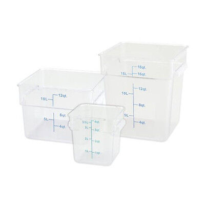 Winco PTSC-18, 18-Quart Polypropylene Square Storage Container, Translucent