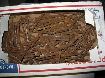 "1/2 LB Lot Vintage Cut Nails 2"" 2 1/8"" OLD VINTAGE ANTIQUE RUSTY NAILS about 50"
