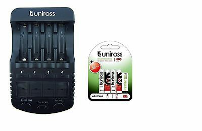 UNiROSS ULTIMATE INTELLIGENT SMART Charger AA AAA+ 4 x AAA Hybrio 800 Bats
