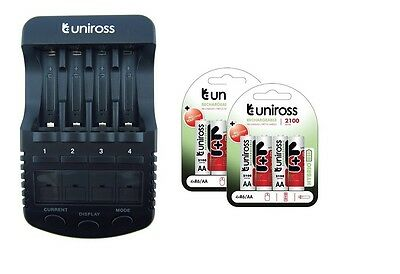 UNiROSS ULTIMATE INTELLIGENT SMART Charger AA AAA+ 8 x AA Hybrio 2100 Batteries