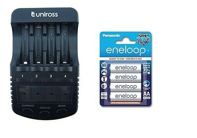 UNiROSS ULTIMATE INTELLIGENT SMART Charger AA AAA+ 4 x AA ENELOOP BATTERIES