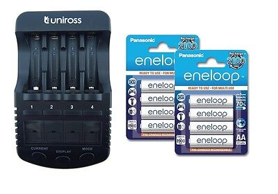 UNiROSS ULTIMATE INTELLIGENT SMART Charger AA AAA+ 8 x AA ENELOOP BATTERIES