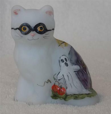 Mosser Glass HALLOWEEN MASKED CAT KITTEN figurine with HAUNTED HOUSE AND GHOST