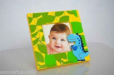 Baby Kids Blue Dino Dinosaur Wooden Photo PictureTable Top Frame 4.5x4.5 Yellow