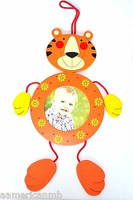 2x Baby Boy Girl Wooden Photo Frames Tiger Orange Yellow Hang Wall Picture