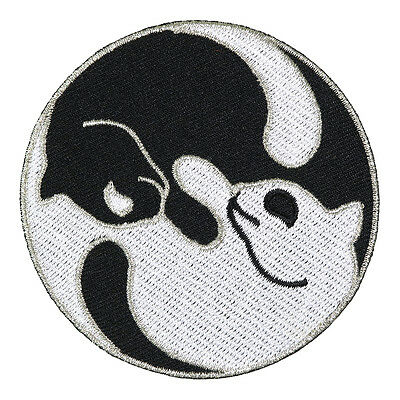Yin Yang Twins Cats Embroidered Patch Cat Feline Silver Thread Iron-On Emblem 3""
