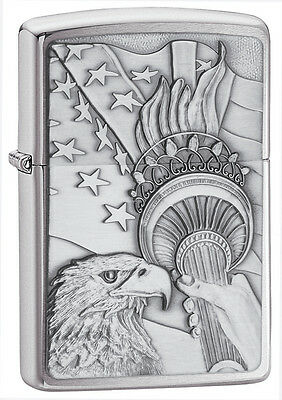 Zippo Windproof Brushed Chrome Lighter With Eagle & Flag, 20895, New In Box