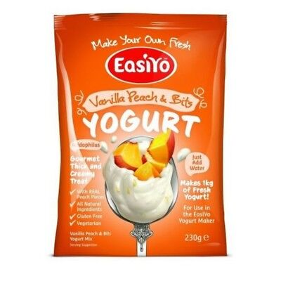 EasiYo Yogurt Single Sachet- Makes 1L - Vanilla, Peach and (&) Bits