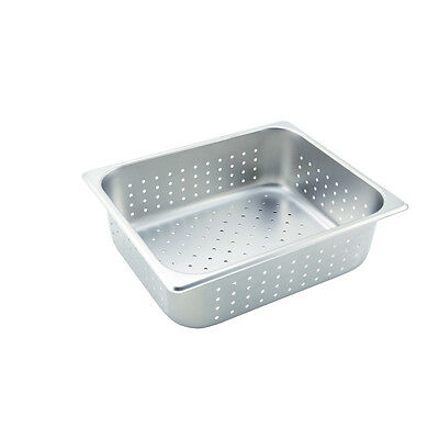 Winco SPHP4, 4-Inch Deep, Half-Size Stainless Steel Perforated Steam Table Pan,