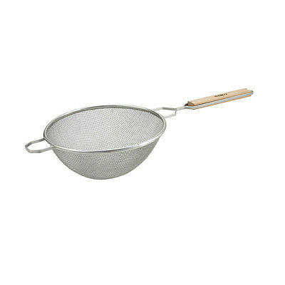 Winco MS2K-10D, 10.5-Inch Double Fine Mesh Strainer with Flat Wooden Handle