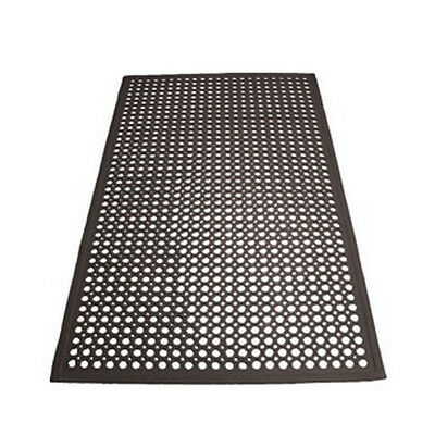 Winco RBM-35K, 3x5x0.5-Inch Anti-Fatigue Grease-Resistant Beveled Floor Mat, Bla