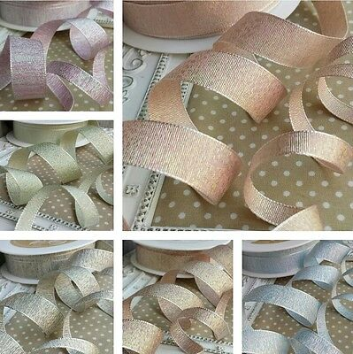9 / 18mm Quality Metallic Weave Ribbon. Wedding bridal invitation Glitter Bride