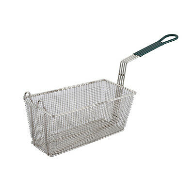 Winco FB-30, 13.25x6.5x5.9-Inch Fry Basket with Green Handle