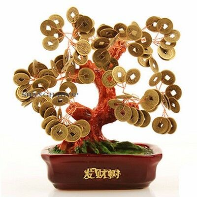 Chinese Money Tree Coin Buddhist Blessed Feng Shui Fortune Lucky Home Decoration