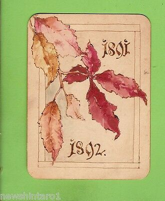 1891/92  Hand Painted Christmas Greeting Card