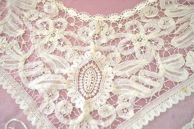 Exceptional Vintage Antique Handmade Tape Lace Shawl Collar  Pp535