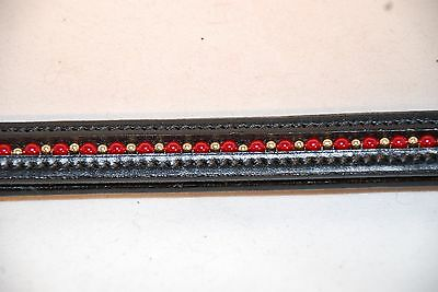 """16"""" Black Leather Browband Red and Gold Beads"""