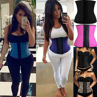 New Femmes Latex Rubber Waist Training Cincher Underbust Corset Body Shapewear